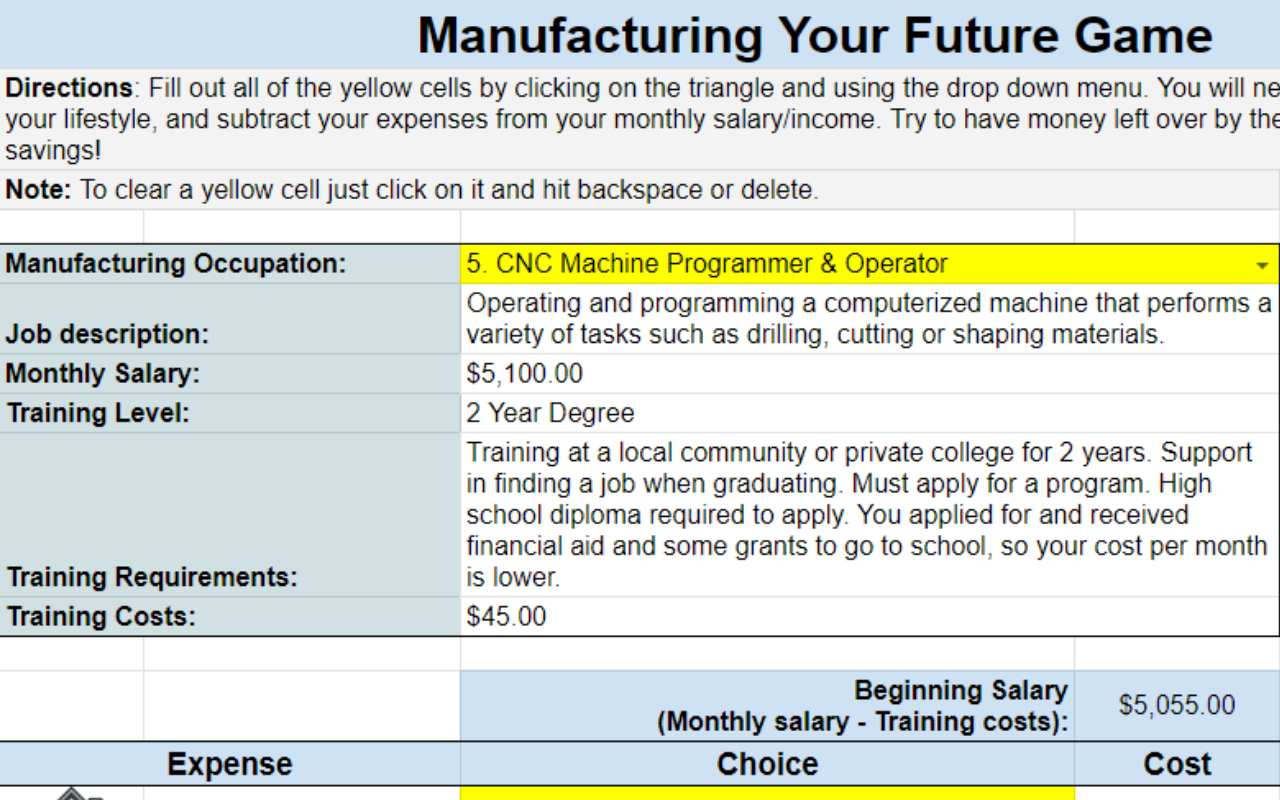 Manufacture Your Future Game